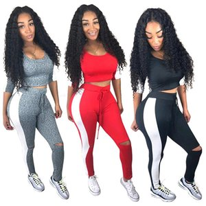 Womens Designer Tracksuits Autumn Hole 2PCS Sports Sets Pants Striped Sexy 3 4 Sleeved Scoop Neck Tracksuits Womens Fashion Sportswear