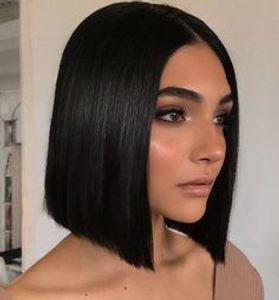 горячие прически дамы короткие стрижки боб прямой парик Африканском Амери мягкие бразильские волосы моделирования человеческих волос короткий стиль боб парик средней части