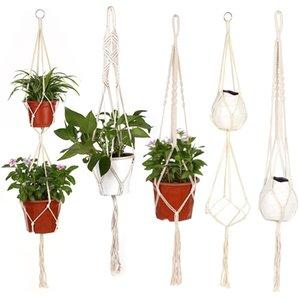 شنقا حبل شماعات نبات زهرة وعاء سلة القطن اليدوية الحياكة القنب الزهرية حبل رفع القدور صافي الحبل على حديقة