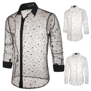 Hot dentelle T-shirt imprimé style transparent flocon de neige à manches longues sexy Polo design unique Costume de scène Homme Hommes Luxe Designer