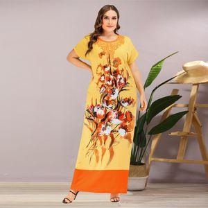 Siskakia Ethnic Print Long Dress Plus Size O Neck Long Sleeve Maxi Dresses Yellow Summer 2020 Large Size Arabian Women Clothing T200601