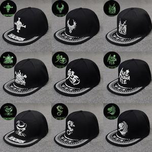 Fluorescenza berretto da baseball verde Glow scuro luminoso di Hip Hop del cappello di luce di notte delle donne alla moda Uomini Snapback Caps Sunhat regolabile