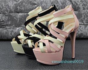 Оптовая продажа-2015 новая мода Женщины золото серебро крест ремни высокий плоский каблук колено высокие гладиаторские сандалии novos moda sandalia gladiadora c19