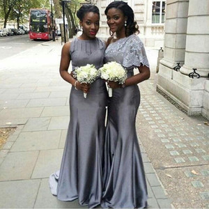 2020 Two Styles Gray Long Bridesmaid Dress Mermaid Maid of Honor Party Dresses Long Evening Gowns