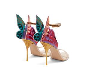 La venta caliente-newset 2019 sandalias multicolor ala de mariposa sophia zapatos de vestir Webster novia de la boda con el tamaño de la caja de la marca euro 35-42