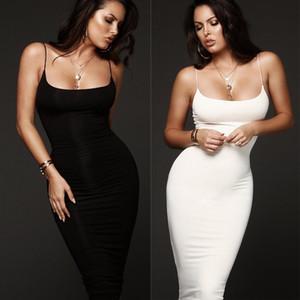 Mujeres cuello redondo sin mangas sólido Bodycon delgado Midi corto vestido de noche cóctel Clubwear Lápiz vestido