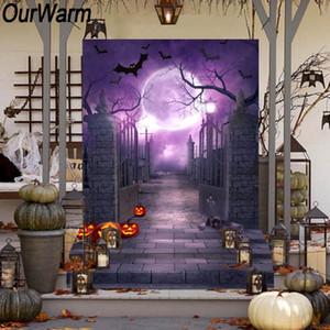 atacado 150x220cm Halloween Photo Fundo Cemitério Porta abóbora Fantasma lua do bastão Padrão de fundo decoração de Halloween Props
