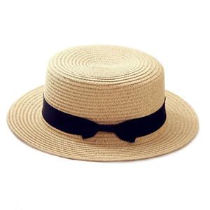 Einfache Sommer Eltern-Kind-Strand-Hut Weibliche beiläufige Panama-Hut-Dame-Marken-Frauen-flacher Rand Bowknot Straw Cap Mädchen Sonnenhut