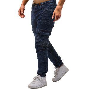 High Street uomini blu drappeggiato tasche dei jeans Primavera Estate 19ss Casual Denim Blue matita dei pantaloni