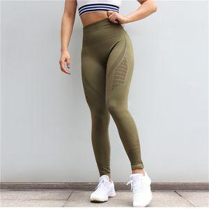 Seamless Yoga Pants Women High Waist Stitching Hollow Sport Pants Female Running Training Fitness Clothing Gym Leggings Breathable