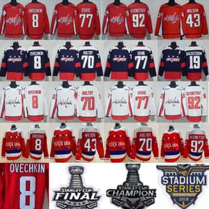 De hockey Washington Capitals Alexander Alex Ovechkin Jersey 8 Tom Wilson 43 Braden Holtby TJ OSHIE Evgeny Kuznetsov Nicklas Backstrom hombres rojos