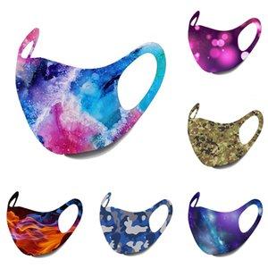Las máscaras 10colors estrellada Imprimir máscara anti-polvo cubierta lavable PM2.5 hielo del algodón de seda del cielo estrellado de Camo de la llama de la máscara del oído que cuelga