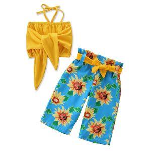 Focusnorm Fashion Toddler Kid Baby Girl Ropa Set Ropa de verano Crop Tops Girasol Pantalones largos 2PCS Trajes