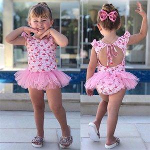 0-24М Детские Gilrs один кусок купальник дети купальники девушки Симпатичные Flamingo Printed дизайнерские купальники Детская дизайнерская одежда для девочек EJY37