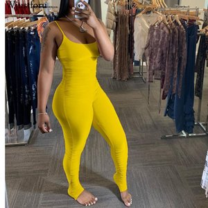 Wjustforu Beach Sexy Pleated Jumpsuit For Women Stacked Sweatedpants Spaghetti Strap Hollow Out Bodysuit Summer Romper Vestidos T200528
