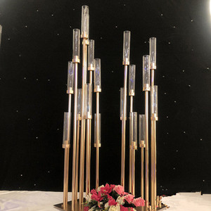 Metal Castiçais Flower Vasos Castiçais da tabela do casamento Centerpieces Candelabra Pillar Stands Party Decor Estrada EEA484 chumbo