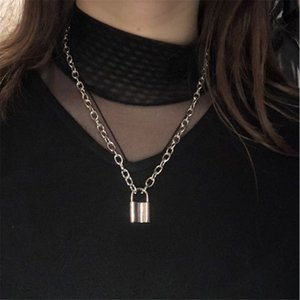 Hiphop brand New Stainless Steel Silver Color Square PadLock Pendant Necklaces for Women Men Rolo Cable Chain Necklace Jewelry