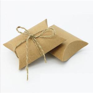 100шт Свадебные подарочные коробки крафт Подушка Форма Свадебный Подарочная коробка партия Candy Box Wholesales Праздничный вечеринок