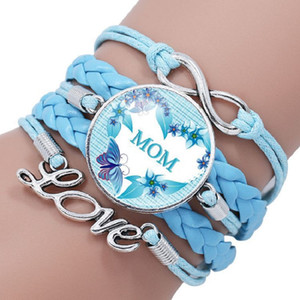 We Love You MOM Infinity Bracelet Multilayer Bracelets en cuir Cabochon en verre Charm Tressé Wrap Bangle Noël Fête des mères bijoux cadeau