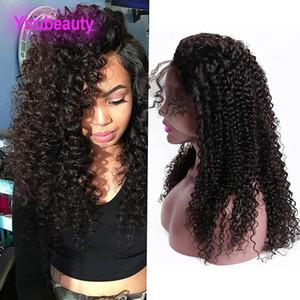인도 원시 처녀 머리 150 % 밀도 13X4 레이스 앞 가발 변태 곱슬 인간의 머리 레이스 가발 무료 중간 세 부분 변태 곱슬 사전 뜯어