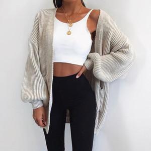 Manica lunga Womens Cardigan autunno-inverno di modo delle donne allentato lavoro a maglia del maglione del cardigan delle donne lavorato a maglia femminile del cardigan Pull Asiatica Misura