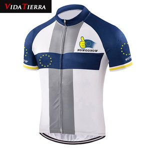 VIDATIERRA 2019 man cycling jersey white blue European Union Europe team EU classic clothing wear leader honour custom cool mtb jersey