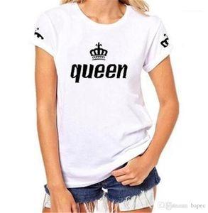 Lettre homme T-shirt de mode d'été Couples Matching vêtements Designer Reine Imprimer Femme T-shirt Lettre Roi Imprimer