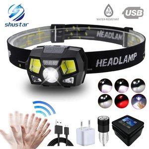 Süper parlak LED farları Dahili endüktif sensör USB şarj edilebilir 6 aydınlatma modu LED Headlight çalışan, balıkçılık, vs.