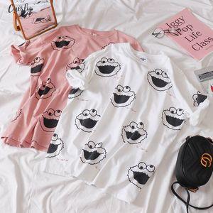 Korean Kawaii Pink White T Shirt Women Short Sleeve O Neck Polyester T Shirts Summer New Tops Casual Tee Shirt Homme Harajuku