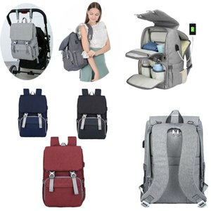2 IN 1 Baby Nappies Bag Mummy Changing Diaper Backpack Maternity Mommy Nylon Rucksack with USB Port Multifunctional Shoulder Bags Handbag