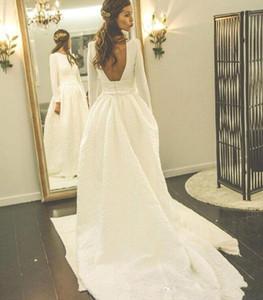 2019 cinese Simple White Wedding Gowns maniche Abiti sexy lungo Backless da sposa sweep treno