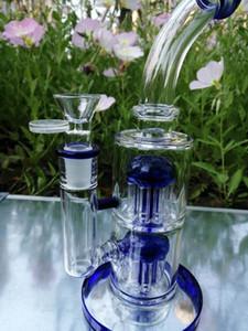 bongs de vidrio azul el color del árbol estupenda doble Reflujo Bluecolor 5 mm de espesor, 14 mm Conjunto Tazón