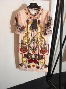 Vestido de pista de Milão 2019 Verão Apricot Rosa Babados Mangas Curtas Contas Cristais Soltos Vestidos Das Mulheres Vestidos De Festa dg003