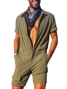 Neue Männer Spielanzug-Overall Short Sleeve Fracht Overall Overall Fashion One Piece Zipper Solid Color Lässige Joggers Street