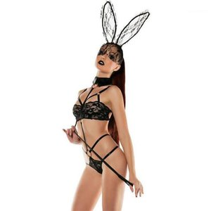 Sexy Set Bunny Girl lace Perspective Three Point Type Underwear Sexy Womens Underwear EU Designer Women