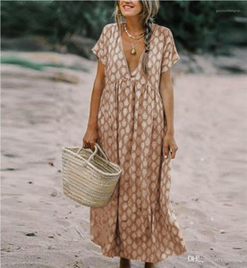 여성 드레스 여성 V 넥 짧은 소매 패션 디자이너 드레스 캐주얼 숙녀 휴일 섹시한 의류 여름 폴카 도트