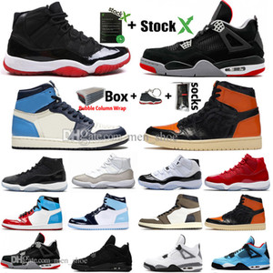 New Bred 11 11s Concord WMNS Metallic Silver Black Cat 4 4s White Cement Männer Basketball-Schuhe 1 1s Travis Scotts UNC Sports Designer Sneaker
