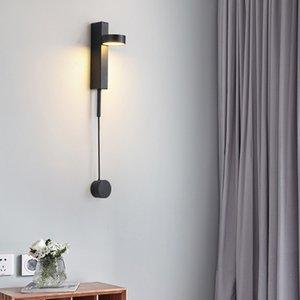 cabezal del LED de la lámpara de pared de la cama nórdica sencillo diseño creativo sobre la carretera lámpara del dormitorio sala de rotación de luz ajustable poste largo lata