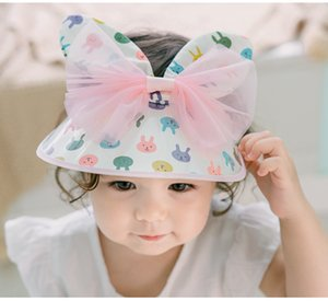Quenya Ins Flower Baby Girls Caps Con Bow Mesh Lace Princess Kids Girls Beach Bucket Sombreros Toddler Girls Sun Sombreros Niños Trip Caps