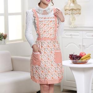 Impermeabile Grembiule da cuoco stampa principessa Grembiule Dress addensare Cotone Donne Bavaglino con tasche accessori per la casa signore Grembiulino Casa