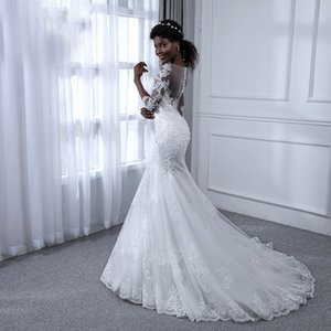 Long Sleeves Mermaid Wedding Dresses 2020 Hot Selling New Custom Sweep Train Lace See Through Tulle Bridal Gowns
