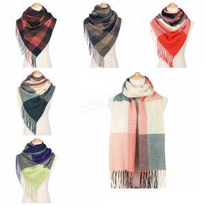 185 * 60 см плед шарф девушки Шаль сетка кисточкой обертывания решетки шарфы шеи бахромой пашмины зимний шейный платок одеяла LJJA2922