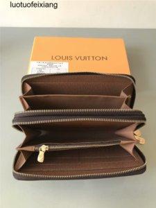 hommes 7VZE à double ZIPPY WALLET VERTICAL femmes longue créateur de mode portefeuilles détenteurs porte-cartes porte-monnaie en cuir d'affaires 04