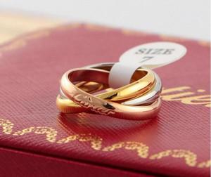 Classique à trois anneaux Bague pour Homme Femme Couple Mode Marque simple Style Anneaux avec trois couleurs Rose Anneaux d'or de luxe