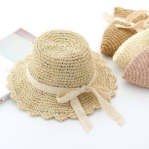 cappelli di paglia estivi ragazze cappelli fatti a mano ombrellone baby beach cava pescatore del merletto della principessa protezione solare