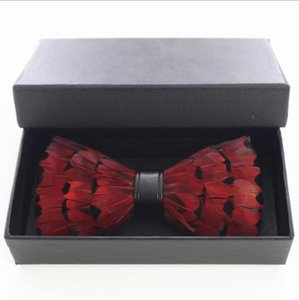 With Box Unique Party Necktie Red Peacock Feather Bow Tie For Man High Quality Men's Tuxedo Dress Vintage Bow tie Free Shipping