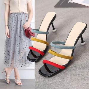 8High-heeled slippers for women sexy slideshow mixed with color for women summer shoes for women new fashion in black beige
