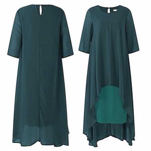 Custom Made Taille Plus Vert foncé thé longueur mousseline Mère de robes de mariée 3/4 manches longues Salut-Lo Mère de robes avec fermeture éclair Retour
