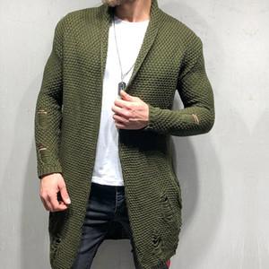 Hole Mens Designer Sweaters Moda bolsillos con paneles sueltos Mens Cardigan Sweaters Casual Manga larga Machos Ropa