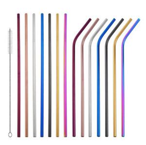 colorido Palhinha de aço inoxidável rectilínea Juice Bent reutilizável palhas partido Milk Bar Straw 215 * KKA6432N 6 milímetros